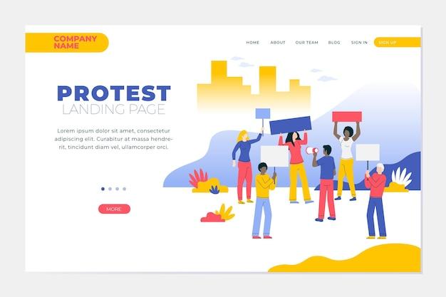 Proteststaking - bestemmingspagina Gratis Vector