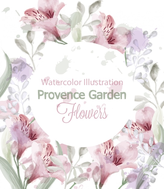 Provence bloemen krans aquarel Premium Vector