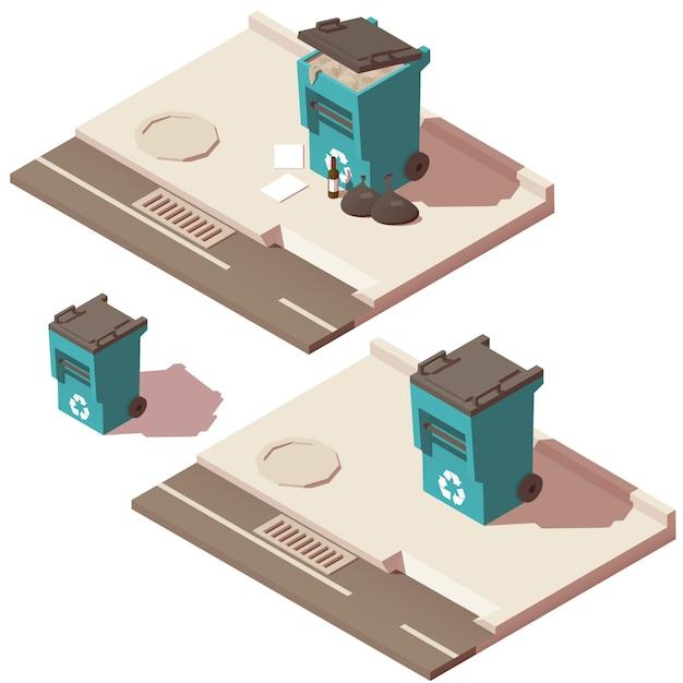 Prullenbak vol en leeg van prullenbakpictogrammen Premium Vector