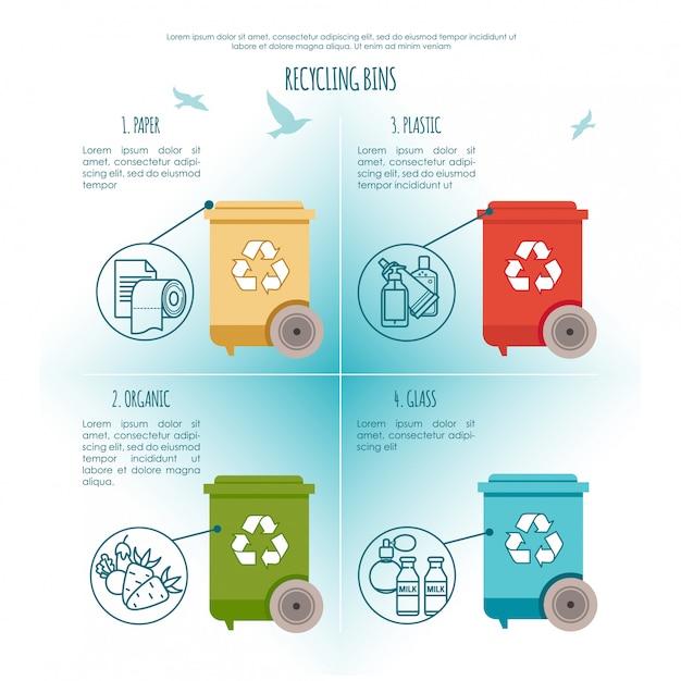 Prullenbakken infographic. afvalbeheer en recycle concept. illustratie Premium Vector