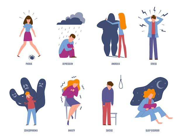 Psychische aandoening. psychische ziekte, mensen met psychiatrische problemen. fobie, depressie en angst, zelfmoord. geestelijke ziekte emotionele ongelukkige mentaliteit Premium Vector