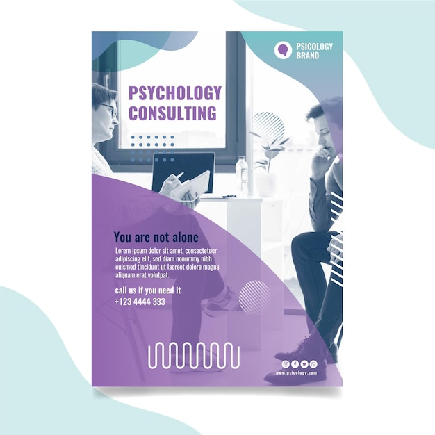 Psychologie consulting poster sjabloon Premium Vector