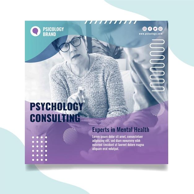 Psychologie consulting vierkante flyer-sjabloon Premium Vector