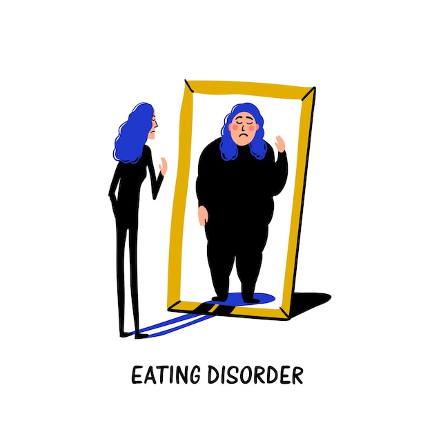 Psychologie - eetstoornis, anorexia of boulimie Premium Vector