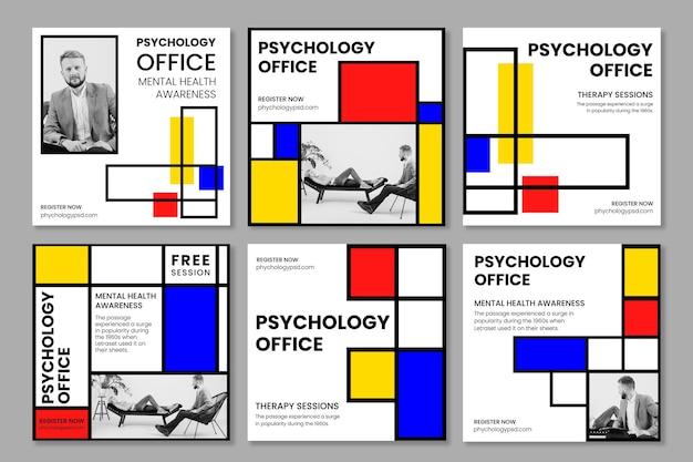 Psychologie kantoor instagram posts sjabloon Premium Vector
