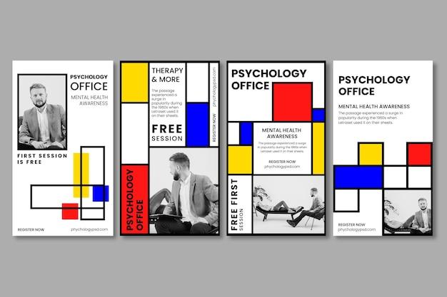 Psychologie kantoor instagram verhalen sjabloon Premium Vector
