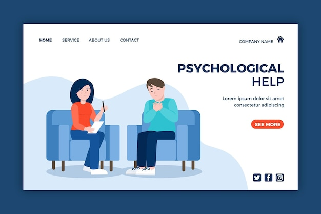 Psychologische hulp bestemmingspagina met patiënt Gratis Vector