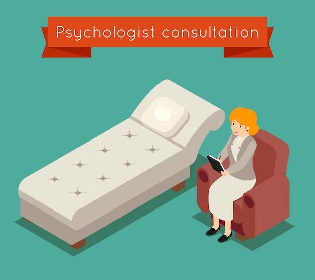 Psycholoog in functie. vector medisch concept in 3d isometrische stijl. artsenpsycholoog, vrouwenpsycholoog, geneeskunde psychotherapie illustratie Gratis Vector