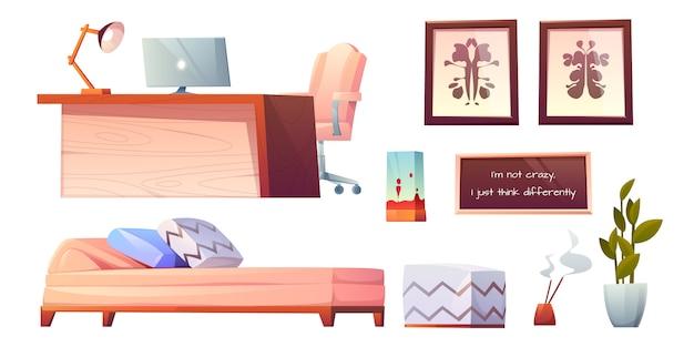 Psycholoog psychotherapeut kantoor spullen glinsterende clip art Gratis Vector
