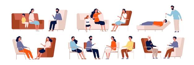 Psychotherapie. volwassen counselor gezinsgroepstherapie behandeling raadpleging van verzameling van menigte karakters Premium Vector