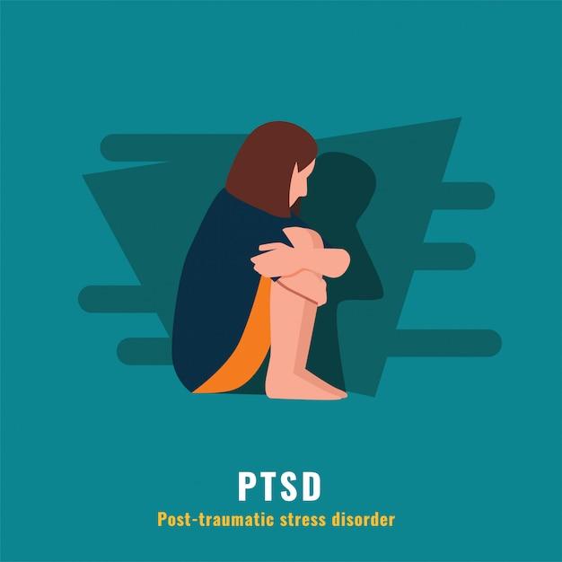 Ptss. post-traumatische stress-stoornis Premium Vector