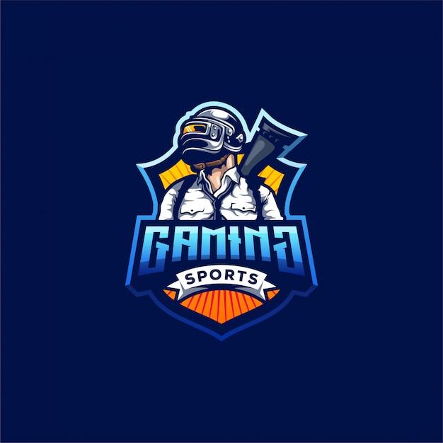 Pubg gaming logo ontwerp Premium Vector