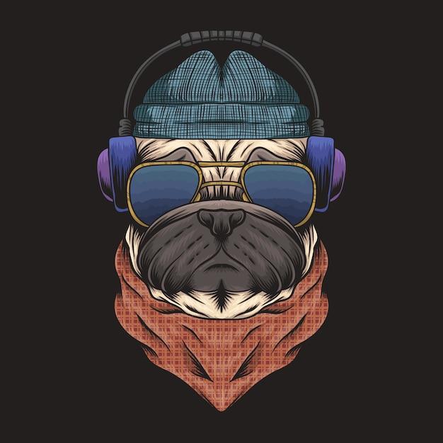 Pug dog koptelefoon Premium Vector