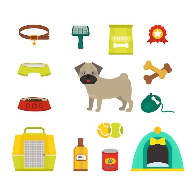 Pug hond symbolen vector illustratie Premium Vector