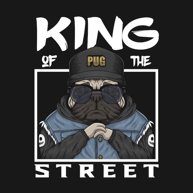 Pug koning van de straat Premium Vector
