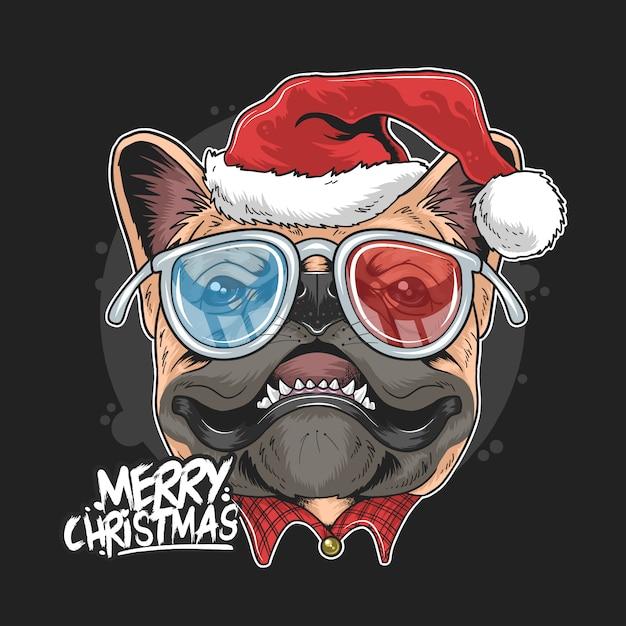Pug puppy hond kerstman kerstgezichten Premium Vector