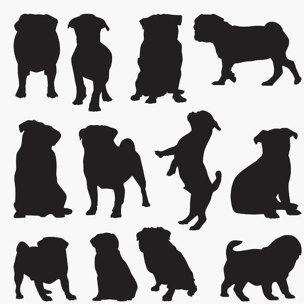 Pug silhouetten van de hond Premium Vector