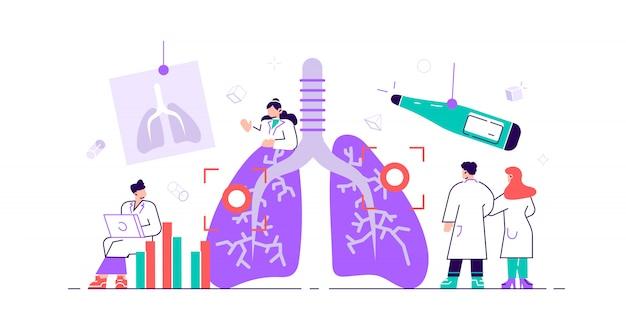 Pulmonologie concept. longen in de gezondheidszorg. interne orgaaninspectiecontrole op ziekte, ziekte of problemen. abstract onderzoek en behandeling van het ademhalingssysteem. plat kleine illustratie Premium Vector