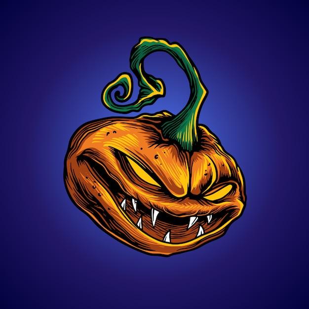 Pumpkin terror Premium Vector