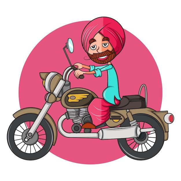 Punjabi-mens op kogelfiets. Premium Vector