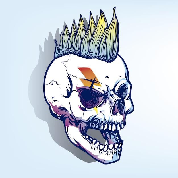 Punky schedel achtergrond Gratis Vector
