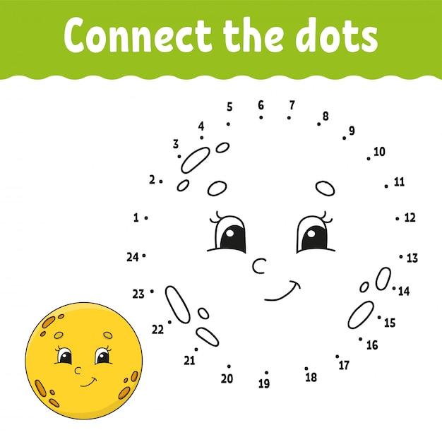 Punt om te stippelen. teken een lijn. handschrift praktijk. leren cijfers voor kinderen. Premium Vector