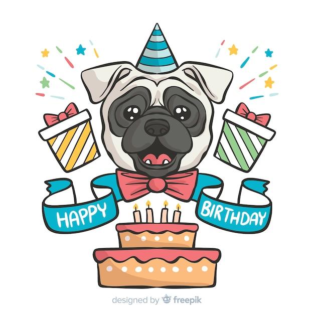 Puppy verjaardag Gratis Vector
