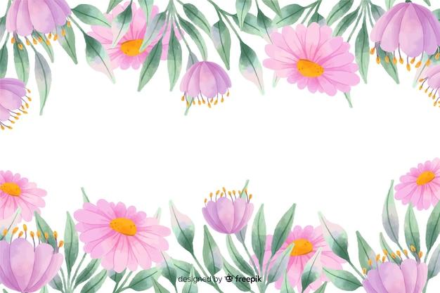 Purpere bloemenframe achtergrond met waterverfontwerp Gratis Vector
