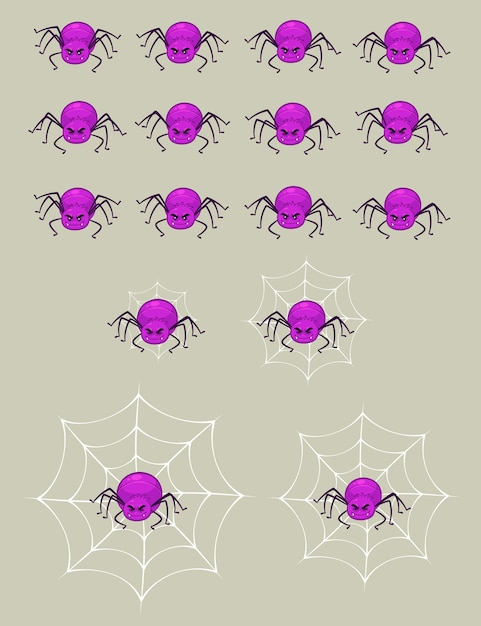 Purple spider game sprites Premium Vector