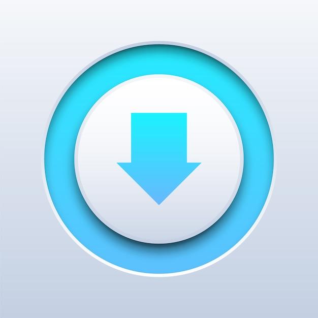 Push-knop downloaden op wit Premium Vector