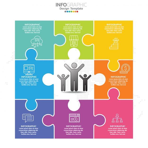Puzzel infographics ontwerpsjabloon met opties, processchema. Premium Vector