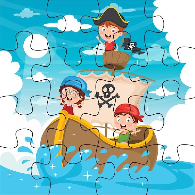 Puzzel spel illustratie voor kinderen Premium Vector