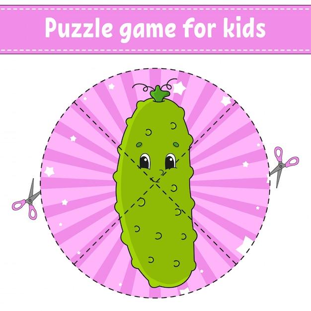 Puzzelspel voor kinderen. Premium Vector