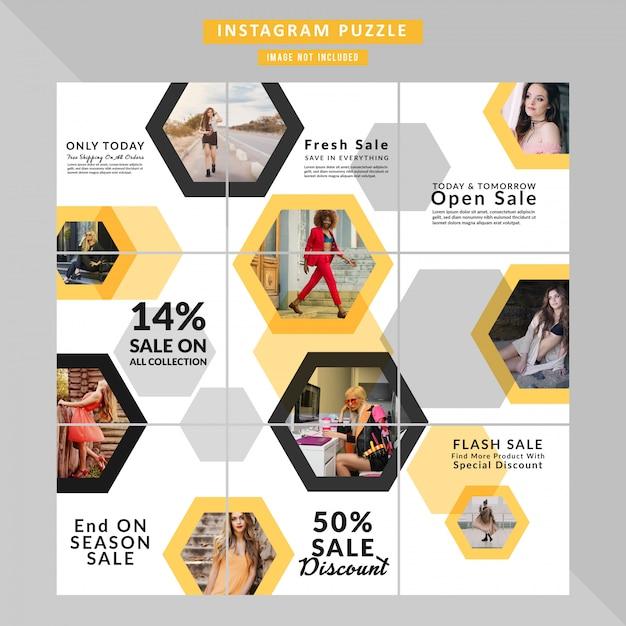 Puzzle fashion web-banner voor sociale mediaberichten Premium Vector
