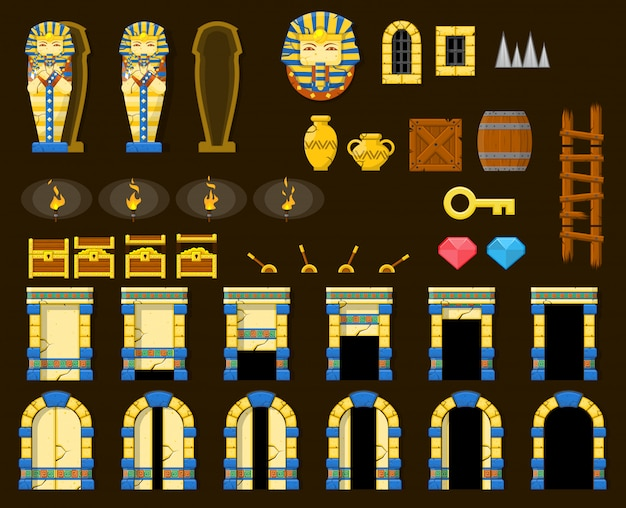 Pyramid game objects Premium Vector