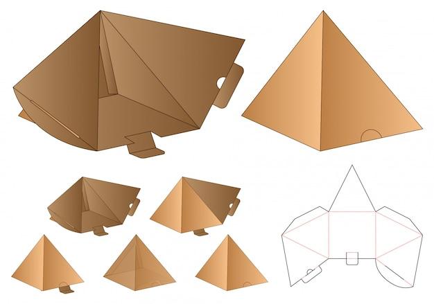 Pyramid shape box verpakking gestanst sjabloonontwerp Premium Vector