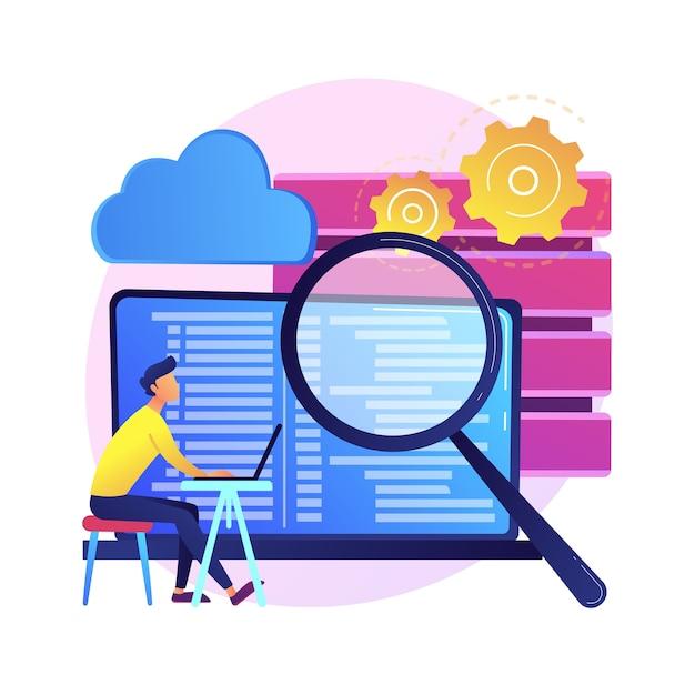Qa-tester. ontwikkelingskit. analyse van binaire code. nauwkeurige inspectie, codering, open script controleren. website administratie. kwaliteit herbevestigen. geïsoleerde concept metafoor illustratie. Gratis Vector