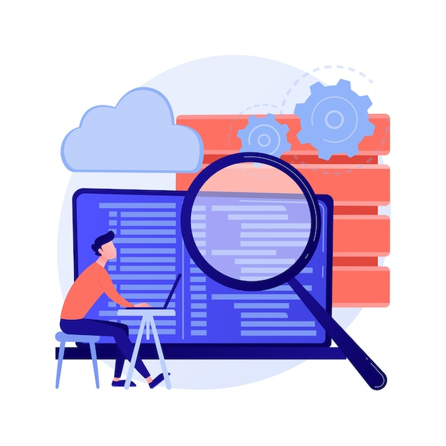 Qa-tester. ontwikkelingskit. analyse van binaire code. nauwkeurige inspectie, codering, open script controleren. website administratie. kwaliteit herbevestigen. vector geïsoleerde concept metafoor illustratie. Gratis Vector