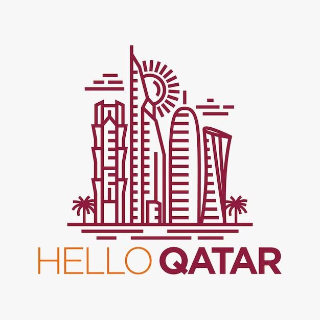 Qatar city tower logo ontwerp inspiratie Premium Vector