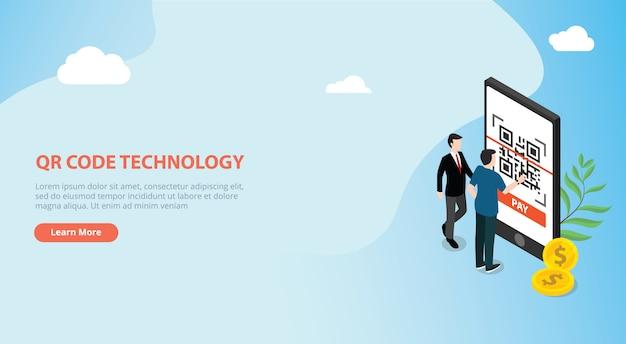Qr-code isometrische online betalingstechnologie scan Premium Vector