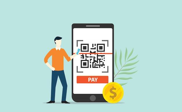 Qr-code online betalingstechnologie scan Premium Vector