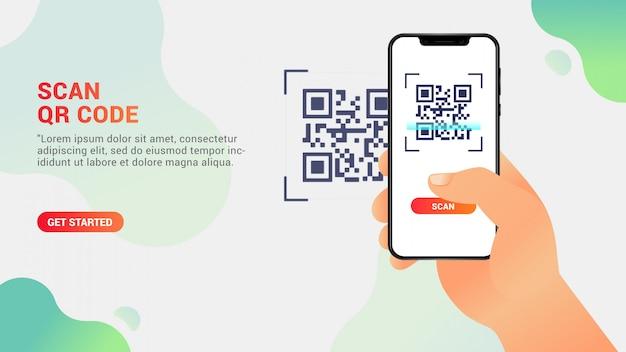 Qr-code scannen, mobiele telefoon een qr-code scannen Premium Vector