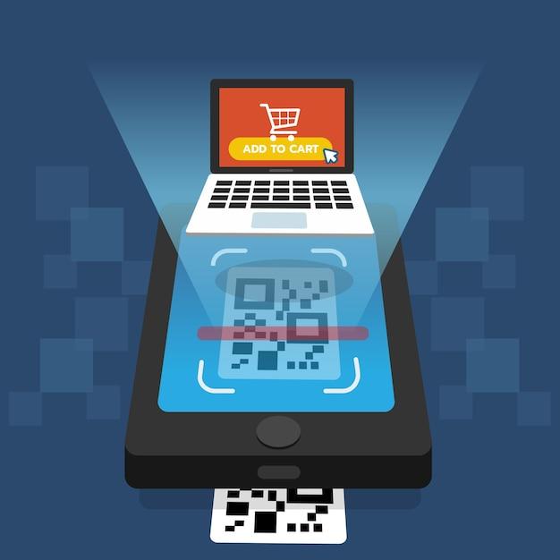 Qr-code scannen op smartphonescherm Premium Vector