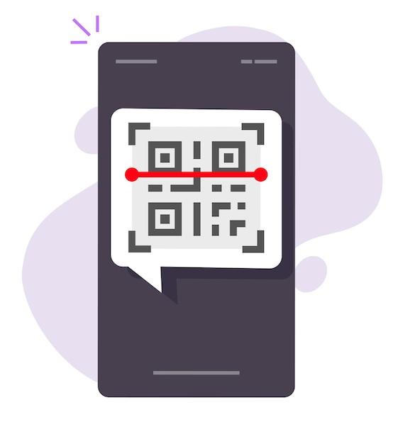 Qr-code scannen via het pictogram van een mobiele telefoon of smartphone-app Premium Vector