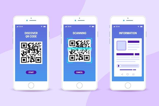 Qr-code scanstappen op smartphone Gratis Vector