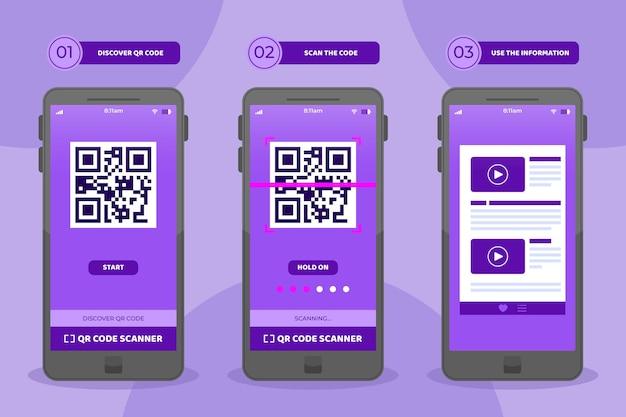 Qr-code scanstappen op smartphoneset Gratis Vector