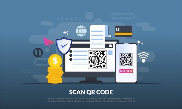 Qr-code voor weblandingspagina Premium Vector
