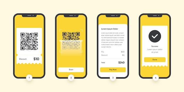 Qr-codescanstappen op smartphone Premium Vector
