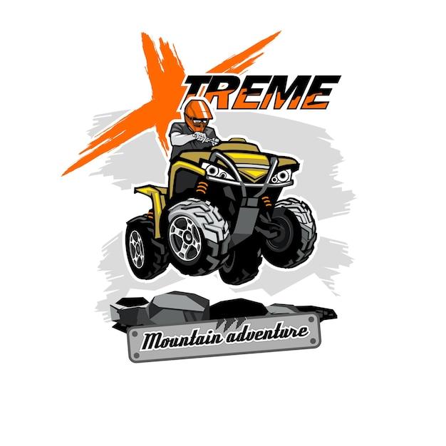Quad atv-logo met xtreme mountain adventure-inscriptie, geïsoleerde achtergrond. Premium Vector