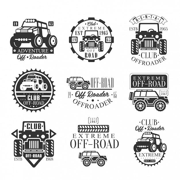 Quad bike rental club set emblemen met zwart-wit quadricycle atv off-road transport silhouetten Premium Vector